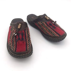 Born Southwestern Wool and Leather Slip on Shoes 7